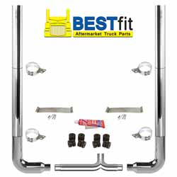 BestFit 6-5 X 108 Inch Chrome Exhaust Kit With Flat Top Stacks & Long Drop Elbows
