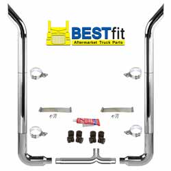 BestFit 6-5 X 108 Inch Chrome Exhaust Kit With Bull Hauler Stacks, Long 90s & Chrome Tapered Y-Pipe