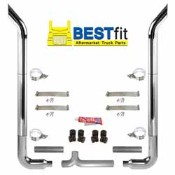 BestFit 6-5 X 108 Inch Chrome Exhaust Kit With Bull Hauler Stacks & OE Style Elbows