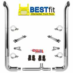 BestFit 6 X 114 Inch Chrome Exhaust Kit With West Coast Turnout Stacks, Long 90s & 6 Inch Y-Pipe