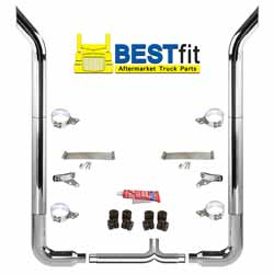 BestFit 6-5 X 96 Inch Chrome Exhaust Kit With Bull Hauler Stacks, Long 90s & Chrome Tapered Y-Pipe