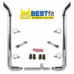 BestFit 7 X 108 Inch Chrome Exhaust Kit With Bull Hauler Stacks, Long 90s & 7 Inch Y-Pipe