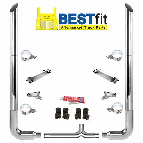 BestFit 7 X 96 Inch Chrome Exhaust Kit With Miter Stacks, Long 90s & 7 Inch  Y-Pipe