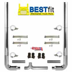 BestFit 8-5 X 108 Inch Chrome Exhaust Kit With Flat Top Stacks & Long Drop Elbows