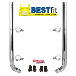 BestFit 8-5 X 96 Inch Chrome Exhaust Kit With Flat Top Stacks & OE Style Elbows