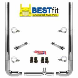 BestFit 8 X 96 Inch Chrome Exhaust Kit With Flat Top Stacks, Long 90s & 8 Inch Y-Pipe