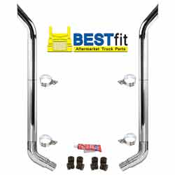 BestFit 8-5 X 96 Inch Chrome Exhaust Kit With Bull Hauler Stacks & OE Style Elbows