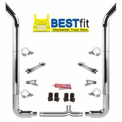 BestFit 7-5 X 108 Inch Chrome Exhaust Kit With Bull Hauler Stacks, Long 90s & 7 Inch Y-Pipe