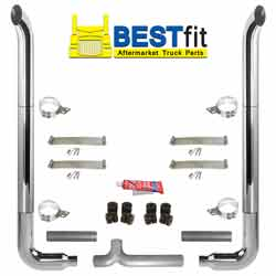 BestFit 7-5 X 108 Inch Chrome Exhaust Kit With West Coast Turnout Stacks & Long Drop Elbows
