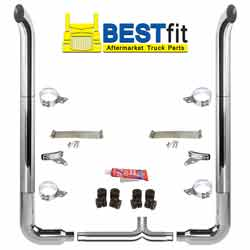 BestFit 8-5 X 108 Inch Chrome Exhaust Kit With West Coast Turnout Stacks, Long 90s & Chrome Tapered Y-Pipe