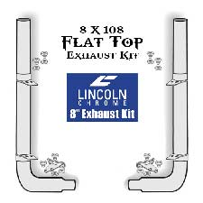 Lincoln Chrome Exhaust Kit 8 X 108 Flat Top With Long Drop Elbows Fits Peterbilt 379/389 Gliders