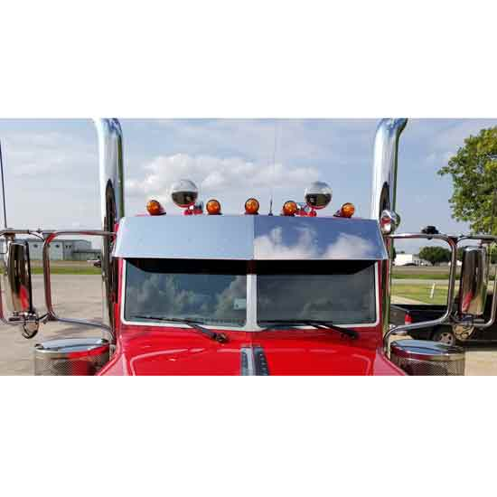 Stainless Steel 14 Inch Drop Visor With Drip Rail Design Fits Peterbilt - 4  State Trucks 4c4c73406b9