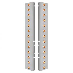 Front Air Cleaner Panels With 26 Amber LED Clear Lens Bulkhead Lights With Bezels Fits Peterbilt (Pair)