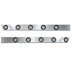 3.5 Inch Stainless Steel Cab Panel With 5 Clear Lens Amber LEDs Fits Peterbilt 389 (Pair)