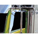Stainless Steel Window Deflector Fits Peterbilt With No Convex Mirrot Cutout