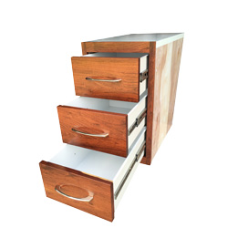 Rose Wood Face 12 x 18.5 x 24 Inch 3 Drawer Storage Solution Fits Peterbilt Driver Side