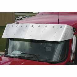 13 Inch Stainless Steel Drop Visor With 10 Bullseye Lights Fits Kenworth T660