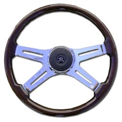 18 Inch Chrome 4 Spoke Mahogany Steering Wheel Fits Kenworth