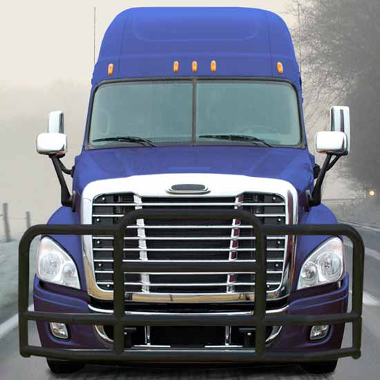 Deluxe Black 201 Stainless Steel Grille Guard & Mounting Kit Fits  Freightliner Cascadia 113 & 125