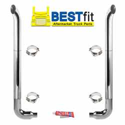 BestFit 7-5 X 108 Inch Chrome Exhaust Kit With West Coast Turnout Stacks