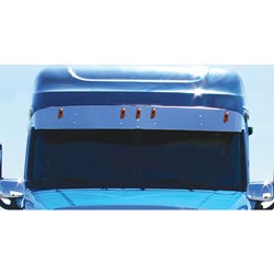 12 Inch Stainless Steel Drop Visor Fits Freightliner Cascadia With Raised Or Mid-Roof