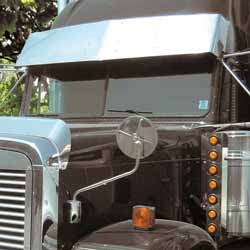 Freightliner Classic/FLD With Raised Roof Drop Visor 16 Inch Stainless Steel