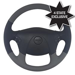 18 Inch Black/Grey Leather Steering Wheel fits Freightliner Cascadia