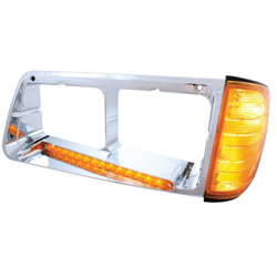 Freightliner FLD Headlight Bezel w 14 Diode LED Light Bar