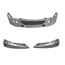15 Inch Stainless Steel Clad Aluminum Aero Bumper Kit With Tow, Vent & Light Holes Fits International ProStar