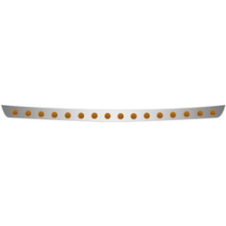 Stainless Steel Bumper Light Bar With 16 - 2 Inch Amber LED Amber Lens Lights Fits International 4000 Series