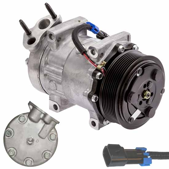 AC Compressor With 8 Groove SD7H15 Clutch & 2 Pin Plug Fits International -  Replaces 3808548C1