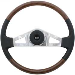 18 Inch Chrome 2 Spoke Black Top Grain Leather & Burlwood Royal Steering Wheel Kit Fits International