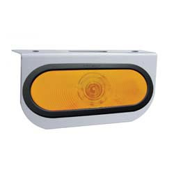 Stainless Steel 4 X 8.25 Inch Bumper Light Bracket With 1 Oval Amber LED Light