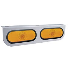 Stainless Steel 4 X 16.5 Inch Bumper Light Bracket With 2 Oval Amber Incandescent Lights