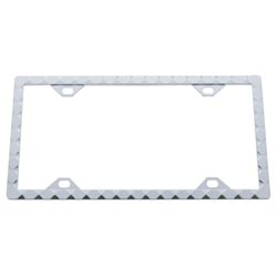 Chrome License Plate Frame With Diamond Pattern