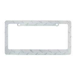 Chrome Diamond Plate License Plate Frame