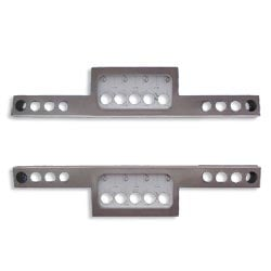 Stainless Steel Rear T Bumper With 13 - 4 Inch Round Light Hole Cutouts