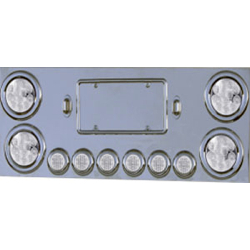 12.75 X 34 Inch Stainless Steel Center LED Light Bar With 4 - 4 Inch & 6 - 2 Inch Clear Lens LEDs