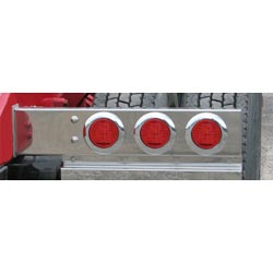 Spring Loaded Rear Light Bar With 6 - 4 Inch Red LED Red Lens Lights & 3.75 Inch Spacing (Pair)