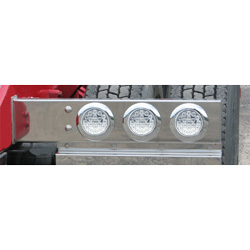 Rear Spring Loaded Light Bar With 6 - 4 Inch Red LED Clear Lens Lights & 3.75 Inch Spacing (Pair)