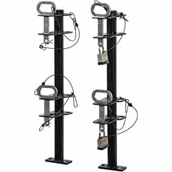 2 Position Channel-Style Lockable Trimmer Rack For Open Landscape Trailers