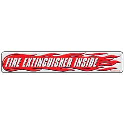 2 X 12 Inch Fire Extinguisher Inside Decal - Red/Black Text On White