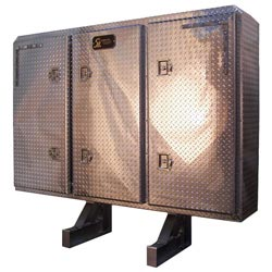 Diamond Plate Aluminum 68 X 80 X 14 Inch Cab Rack With 3-Enclosed Doors