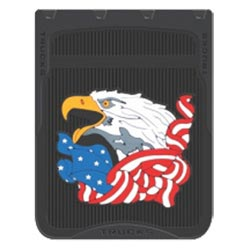24 X 30 Inch Black Fiberglass-Reinforced Rubber American Flag & Bald Eagle Mud Flap (Pair)