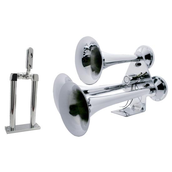 3 Trumpet Chrome Train Horn With 9 Inch Air Valve Stand