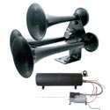 Black 3 Trumpet Train Horn Air Compressor