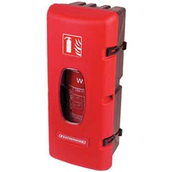 11.5 X 27.25 X 10.25 Inch Red Plastic Front-Loading Fire Extinguisher Case