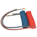 Coiled Air Hose Set - Red/Blue - 15 Feet With 40 Inch Lead