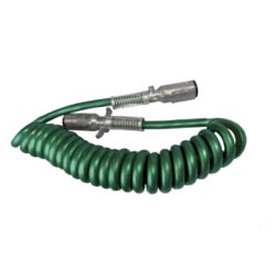 Trailer Cord - 7 Way With Metal Ends - 15 Foot - Green
