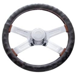 18 Inch Brown Leather Steering Wheel Cover